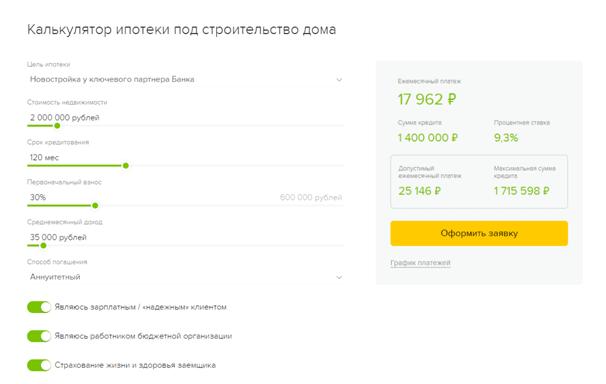 Кредит на строительство дома в Россельхозбанке: калькулятор ипотеки