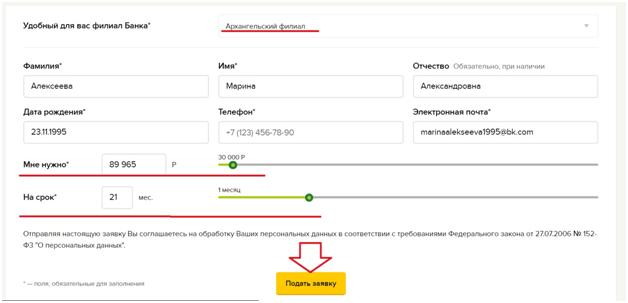 Онлайн-заявка на кредит в Россельхозбанке: персональные данные